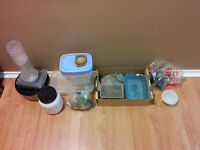 Containers, food dishes, meal worms, filter, etc.