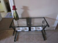 VERY MODERN GLASS AND METAL TABLE-STURDY-CLEAN-INTACT