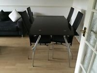 Black Glass Dining table & 4 Chairs