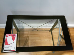 Glass top computer desk with small table for printer