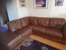 Tan Italian leather corner suite of furniture and electric recyler