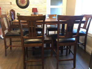 Dining Table and 6 Chairs (Pub Height)