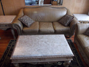 beautiful leather couch set marble tables 5 piece matching set