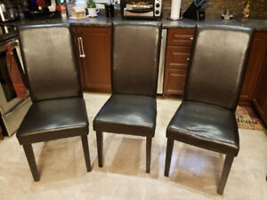 FREE - 3 Dinning Chairs (Dark Brown Faux Leather)