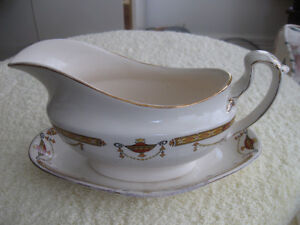 CHARMING OLD ENGLISH-MADE CHINA GRAVY BOAT with MATCHING TRAY