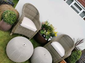 MAZE RATTAN Premium Rattan Kensington Chairs & Keter footstools/table