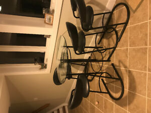 Black Round Glass Bistro Table & Chairs