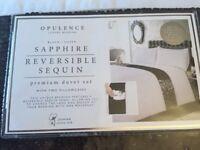 Top quality Opulence luxury double size black silver reversible sequin premium duvet set,New