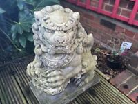 Chinese or Japanese Foo Dogs pair very detailed garden statues
