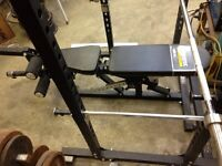 Power Rack, bench, weights