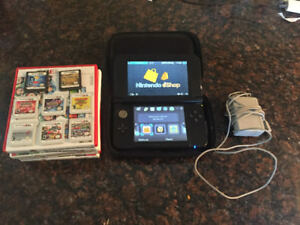 3DS XL-Black for sale with case, charger and games