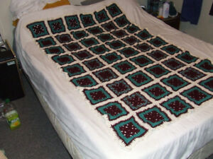 Beautiful Hand Crocheted Afghan - Maroon & Teal - $10.00