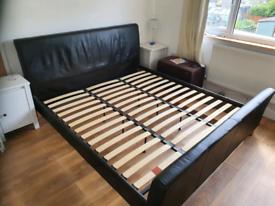 Super King Size bed frame, Brown leather