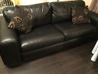 3 seater black leather eternity endurance sofa RRP £1100