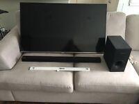 Samsung 50inch led TV 1080 HD. Sound Bar and ultra slim wall bracket