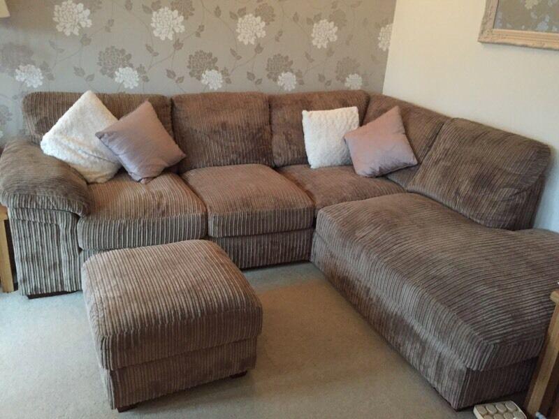 Cargo Sienna Mink Corner Sofa 2 Seater And Footstool
