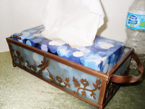 Frosted Glass DRAGON FLY tissue box holder