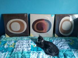 3x faux suede box frame wall art