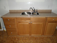 Kitchen cabinet with sink and taps.