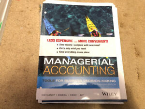 Managerial Accounting Fourth Canadian Edition Textbook $70