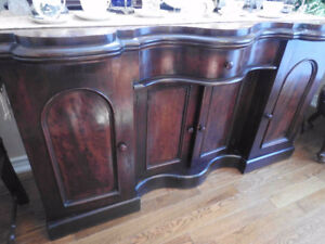 Victorian Burled Walnut 1850 Antique Sideboard Buffet REDUCED