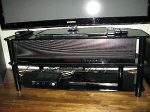 Black Metal and Glass Television/Component Stand