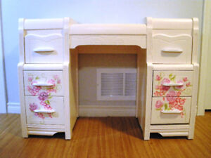 Upcycled Vintage Child's Hand Painted Desk OOAK