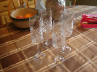 HAND CUT LEAD CRYSTAL BOHEMIA  CHAMPAGNE FLUTES