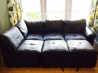 Leather sofa bed with storage right hand
