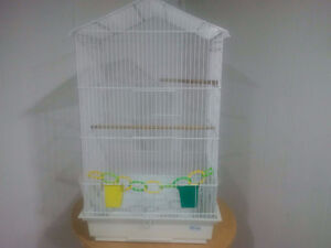 HAGEN WHITE BIRD CAGE AND ACCESSORIES--REDUCED TO GO NOW!!