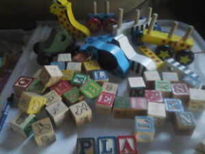 wooden blocks and an animal put together  thing u pull