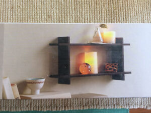Floating Shelf Set with 2 LED Candles For Sale