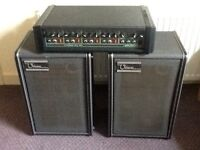 Carlsbro 90 watt pa with Ohm speakers and speaker cables.