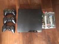 PS3 PlayStation 3 with 3 controllers and a bunch of games