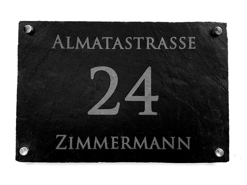 Hausnummer Schiefer Schild,30x20cm, Lasergravur, Namensschild, Türschild