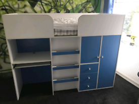 Miami Midsleeper Blue cabin bed with desk and drawers.