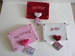 Lot of 3 Ganz plush photo album book red pink and white NEW