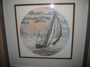 Paul Geygan Artist A/P color etching  of ship signed & framed