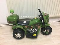 Kids RIDE ON ELECTRIC BIKE - Army- 6V - Forward & Reverse - Ages 2+