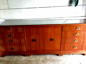 Antique Dresser/Side Board with glass protective top