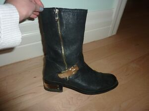 Vince Camuto Gold Buckle Black Boots
