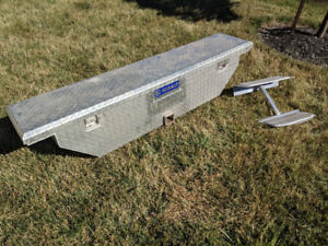 Truck tool box for hitch receiver with step