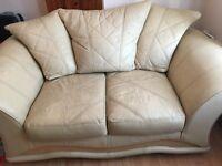 2 & 3 Seater Cream Leather Sofa's