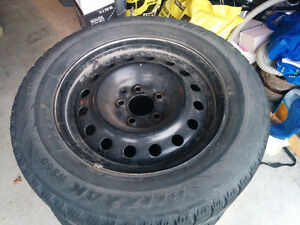 Snow tires with steel rims / $200.00 OBO Kawartha Lakes Peterborough Area image 2