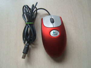 Red Logitech USB Mouse
