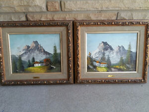 CONTENT SALE SIGNED PAIR FRAMED CANVAS OIL PAINTINGS SWISS ALPS