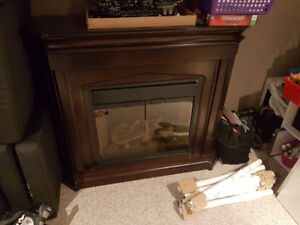Electric Fireplace with Mantle.