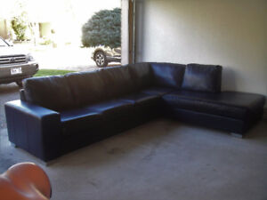 """Hide a Bed """"Campio"""" Buffalo Leather Sectional, Can Deliver"""