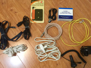 Cable, Chargers, Adapters, Filters, Combo locks, wires