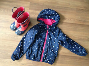 Girl's rain boots (size 1) and spring jacket (size 6 x)
